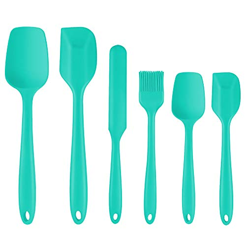 Silicone Spatula, 6 Piece Non-scratch Heat Resistant Rubber Spatula with Stainless Steel Core, Non Stick and Great Grips Spatulas for Cooking, Baking and Mixing (Green)