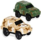 HOMOFY Dinosaur Race Track Replacement Car ( 2 Pack), Electric Light up Military Jeep, Blue Police Car with Compatible with Most Racing Tracks,Gift for Boys and Girls