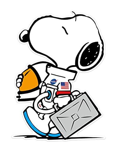 BUCUO Pegatinas de Equipaje de Astronauta de Snoopy Grandes, Pegatina Completa de Dibujos Animados para portátil, monopatín, Puertas de Cristal y Ventanas, Pegatinas Impermeables