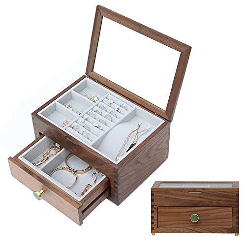 Joyero retro con cajón, visualiza la superficie de cristal, espacio independiente de doble capa para anillos, pulseras, pendientes, collares, relojes, gafas