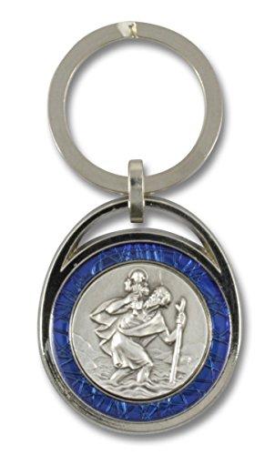 MaMeMi Schlüsselanhänger Heiliger Christophorus mit blauem Rand