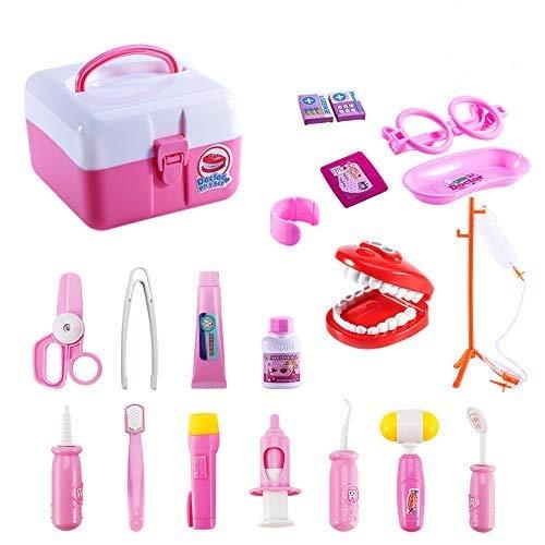 Twister.CK Children Pretend Doctor Kit Set, 20 Piezas Medical Case Kit Doctor Nurser Dress Up Juegos de rol Juguetes para niñas, Rosa