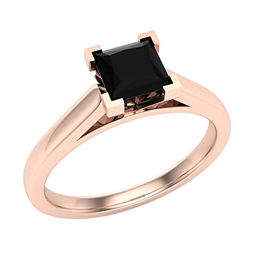 Princess cut Black Diamond Ring for women 1/2 Carat 14K Rose Gold 4 prong Solitaire Setting Natural Earth-mined (Ring Size 5.5)