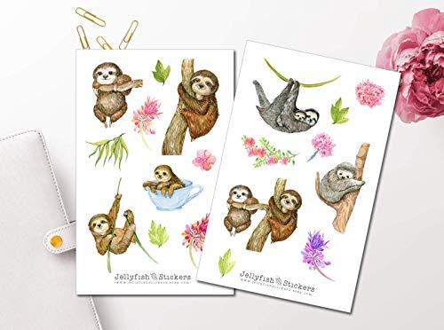 Niedliche Faultiere Sticker Set | Süße Aufkleber | Journal Sticker | Tiere Sticker | Planersticker | Sticker Faultier, Sticker Floral