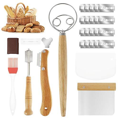 Juego de Herramienta de Corte de Pan Cortador de Pan con Mango de Madera, Cuchillo de Panadero, para Masa Pan DIY, para Hornear en la Cocina con 20 Cuchillas Inoxidables de Repuesto