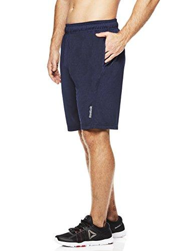 Reebok Men s Drawstring Shorts - Athletic Running & Workout Short - Deep Sea Blue Fireball, Medium