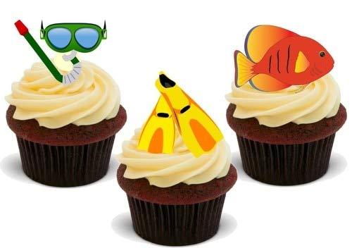 Schnorchel Mix - 12 essbare hochwertige stehende Waffeln Karte Kuchen Toppers Dekorationen, Snorkelling Mix - 12 Edible Stand Up Premium Wafer Card Cake Toppers Decorations