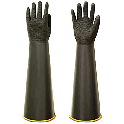 """ThxToms Heavy Duty Rubber Gloves, Versatile Latex Chemical Resistant Gloves, Upgraded with Anti-Slip Design, Soft and Thick, 22"""" 1 Pair"""