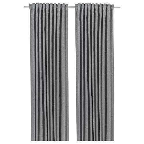 BLÅHUVA Room Darkening Curtains 1 Pair Light Grey 145X250 cm