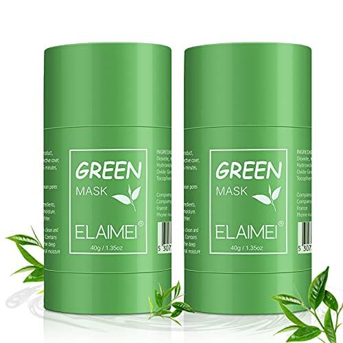 Green Tea Purifying Clay Stick Mask, (2 Pacchi) Maschera In Stick Al Tè Verde, Oil Control Solid Mask Maschera idratante per Pulizia Profonda