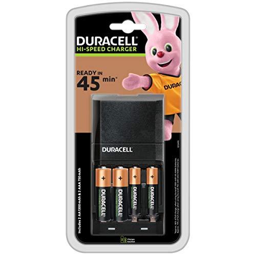 Duracell, Cargador de pilas, carga en 4 horas, incluye 2 pilas AA y 2 pilas AAA