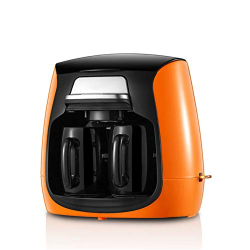 PLEASUR Kaffeemaschine Abnehmbarer, Automatische Kleine Teemaschine, Mark Keramiktasse, Amerikanische Haushaltskaffeemaschine, Mahlend, Orange