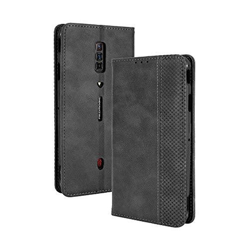 LAGUI Kompatible für ZTE Nubia Red Magic 6 Pro Hülle, Leder Flip Hülle Schutzhülle für Handy mit Kartenfach Stand & Magnet Funktion als Brieftasche, schwarz