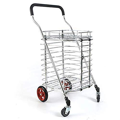 NYDZDM boodschappenwagentje, supermarkt Wasserij Opvouwbaar Gereedschap Cart, Draagbare Licht Trolley Wandelwagen, Aluminium Legering Met Deksel Max Lading 35kg