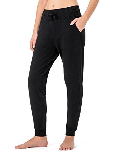 NAVISKIN Damen Jogginghose Trainingshose mit Kordelzug und Rippbündchen schwarz Größe M
