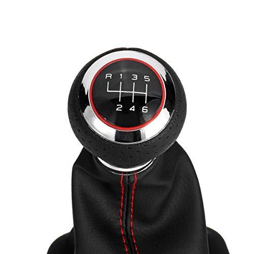 NO LOGO 1pc for Audi A3 S3 8p 2003-2013 A4 S4 Q5 S-Line 2007-2015 Palanca de Cambios de Cuero desplazador Engranaje del Coche con el asa de la Cubierta de Arranque de 6 velocidades