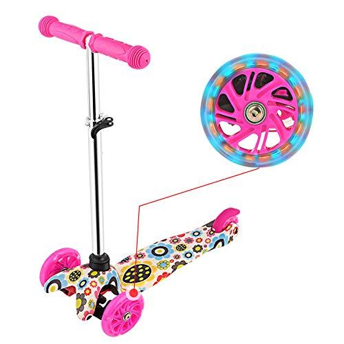 WeSkate Kids 3 Wheel Scooter 4 Höhenverstellbar mit großen blinkenden Rädern für Mädchen und Jungen von 2-8 Jahren