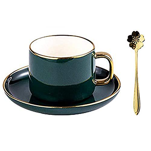 Coffee Cup Saucer Set Home Flower Tea Cups Ceramics Bright Glazed Surface Hand-Painted Gold Stainless Steel Spoon, for Study Living Room Offic