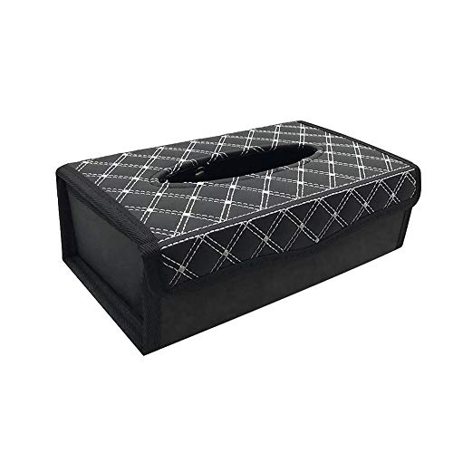 idain Car Auto Paper Case Tissue Box Napkin Holder PU Leather Rectangular Car Tissue Box,White+Black