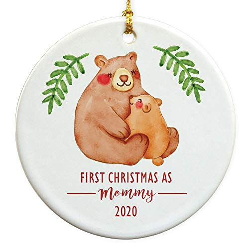 GiftsForYouNow First Christmas as Mommy Round Disc Christmas Ornament