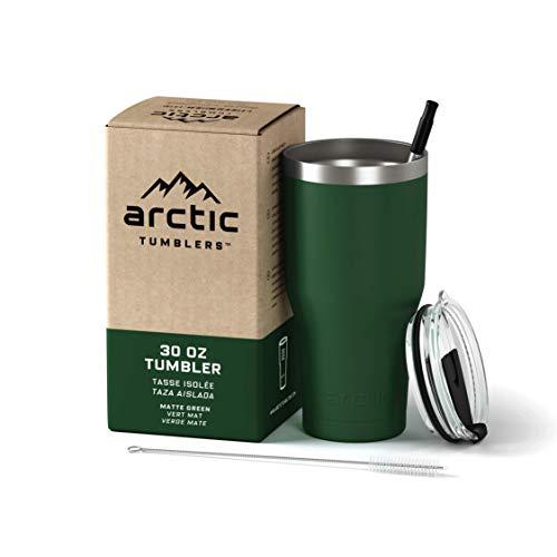 30 oz tumbler Green powder coat with straw