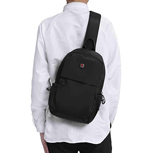 Kleine Umhängetasche für Herren, Umhängetasche, Reiserucksack, Brusttasche, leicht, Outdoor-Schultertasche, Schwarz