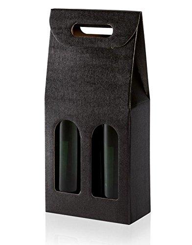 10 Stück Tragekarton Fineline Black (schwarz) für Zwei Flaschen Wein/Sekt,Geschenkkarton