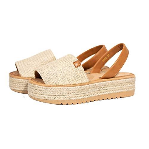 Sandalias menorquinas con plataforma de mujer forrada de yute 2021 (Beige yute, 40)