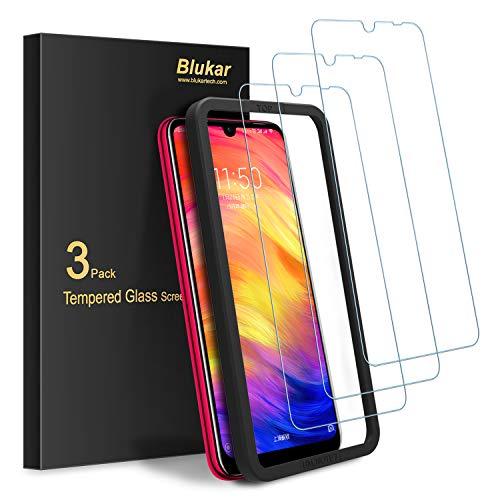 Blukar Protector Pantalla Xiaomi Redmi Note 7/7 Pro, [3 Pack] Vidrio Cristal Templado con Marco de Instalación, 9H Dureza, Alta Sensibilidad, Anti-Arañazos, Anti-Huellas Dactilares, Sin Burbujas