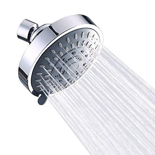 ASEOK wassersparende Kopfbrause, chrom Hochdruck-verstellbar, Regen-Duschkopf, Wandmontage, Luftblasen-Druck, Chrom gegen niedrigen Wasserdruck, 5 Einstellungen, 2,5 GPM, 10,1 Zoll