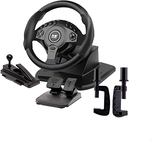 QDY - Juego de Carreras con rotación de 900 Grados, Volante con Pedales, simulación de Coche, simulador de máquina de Juego para PC, Compatible con Camiones Europeos 2, Negro