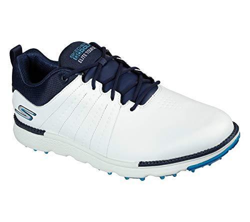 Skechers Elite Tour SL, Zapato de Golf Impermeable para Hombre (Blanco/Marino, 44.5)