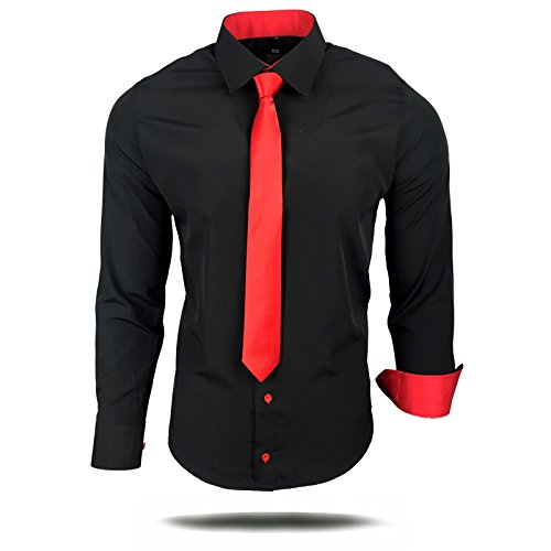 Rusty Neal Herren Kontrast Hemd Schwarz Slim Fit Black Edition mit Krawatte, Farbe:Schwarz/Weiß, Größe:3XL