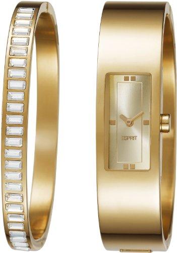Esprit Horizon Damen-Quarzuhr mit goldenem Zifferblatt, Analog-Anzeige und goldenem Edelstahl-Armreif ES105822003