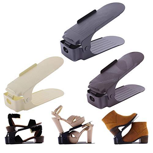 Zapatera Ajustable De Plastico Organizador De Zapatos Ahorra Espacio 10 Piezas (Negro)
