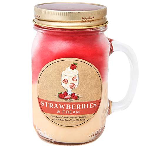Our Own Candle Company Duftkerze, Sojawachs, großes Glas, 100 Stunden Brenndauer, Erdbeeren & Creme, 12.5cm X 7cm X 10cm