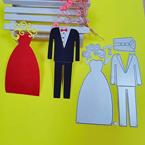 Doe-het-zelf stansvorm bruidegom bruidsjurk metaal stanspatroon sjabloon om zelf te stempelen, papier album, geschenk wenskaarten maken bruiloft sterft