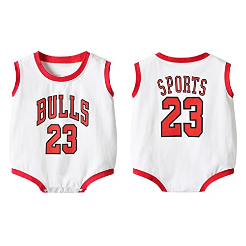 DHRBK Body para bebé Mono NBA Bulls Jordan # 23 Manga Corta con calcetín y Diadema Mono de Verano para bebé