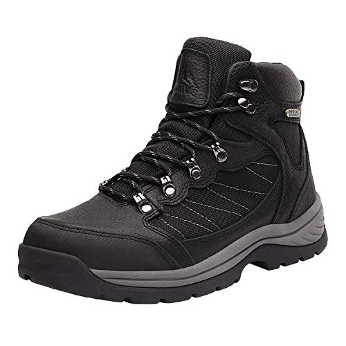 NORTIV 8 Men's Waterproof Hiking Boots Mid Ankle Hiker Mountaineering Trekking Work Boots Black Litchi Size 10.5 M US Skyline