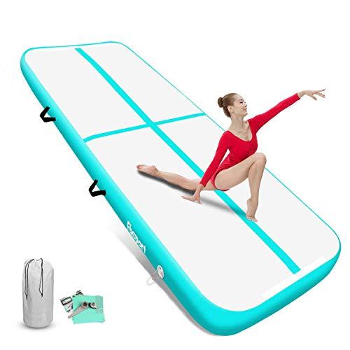 FBSPORT Airtrack Matte 20cm hoch Verdicken 3M Aufblasbar Gymnastik Tumbling Matte,Trainingsmatte mit Luftpumpe