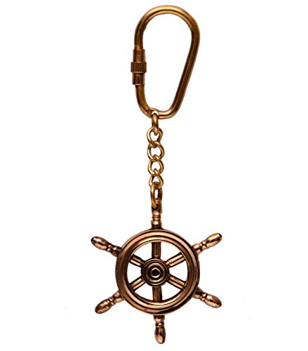 Purpledip sleutel ketting/ring/haak schip stuurwiel: in sculpturen gevormd massief messing metaal; uniek cadeau-idee (10580)