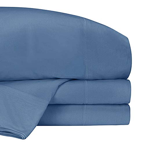 Road Trip America Jersey Bed Sheet Set 100% Organic Cotton T-Shirt Soft Knit 4 Pieces Bedding - 1 Flat Sheet 1 Fitted Sheet 1 Pillow Case, GOTS Certified (Blue, Queen)