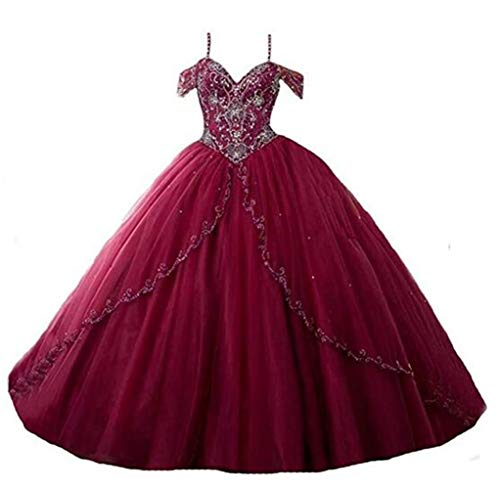 Aiyue Yishen Women's Off Shoulder Beaded Sweet 16 Quinceanera Dresses Cap Sleeves Long Prom Ball Gowns Plum