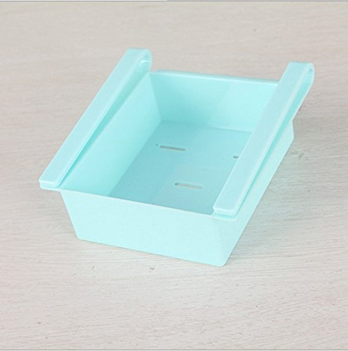 4 Pcs/lot Plastic Kitchen Refrigerator Storage Rack Fridge Freezer Shelf Holder Pull-out Drawer Organiser Space Saver /Blue