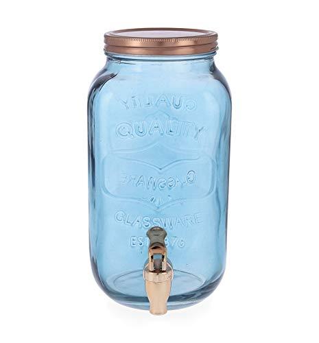 Quid Arizona Getränkespender mit Wasserhahn, Glas, Kupfer und Rauchblau, 3 l