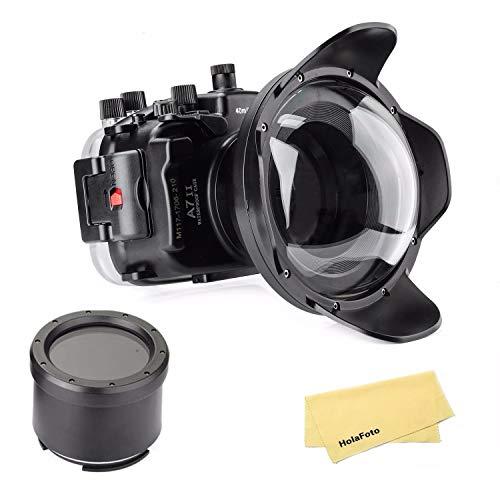 Meikon Underwater Camera Housing Case w/Wide Angle Lens Kit, 40M/130FT Waterproof Housing for Sony A7 II A7R II A7S II 28-70mm/ 24-70mm Lens