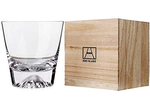 【morning place】 富士山 グラス タンブラー ロック 伝統的 木箱入り 結婚祝い プレゼント に (富士)