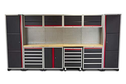 Profi Werkstatteinrichtung Set mit Schubladen 405 x 51 x 204 cm, Werkbank, Werkzeugschrank, Werkzeugwagen von HBM bei Toolsde (Werkstatteinrichtung Set 2)