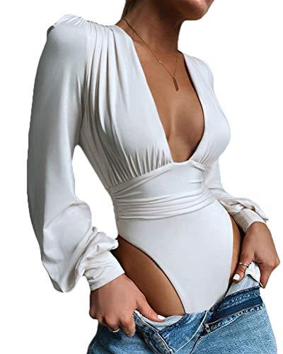 Onsoyours Body Vestir para Mujer V Profunda Mono Bodysuit Mangas Largas Sexy Elegante Fiesta Body Leotardo Body Stretch Bodycon Blusa A Blanco S