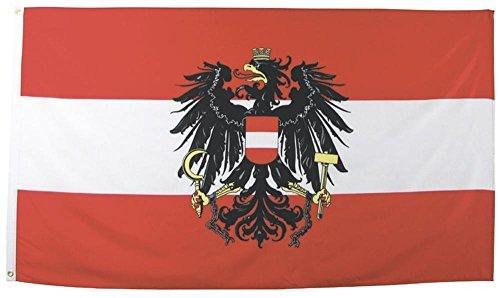 MFH Fahne 90x150 cm Länderflagge WM EM Hissflagge Nationalfahne Deutschlandfahne (Österreich mit Wappen)